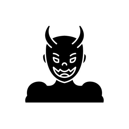 Devil black icon, concept vector sign on isolated background. Devil illustration, symbol