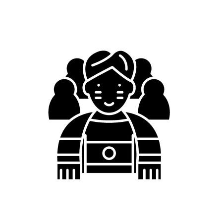 Sportsman black icon, concept vector sign on isolated background. Sportsman illustration, symbol
