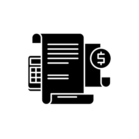Financial instructions black icon, concept vector sign on isolated background. Financial instructions illustration, symbol