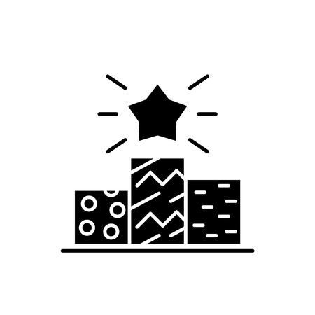 Sports pedestal black icon, concept vector sign on isolated background. Sports pedestal illustration, symbol Archivio Fotografico - 127267130