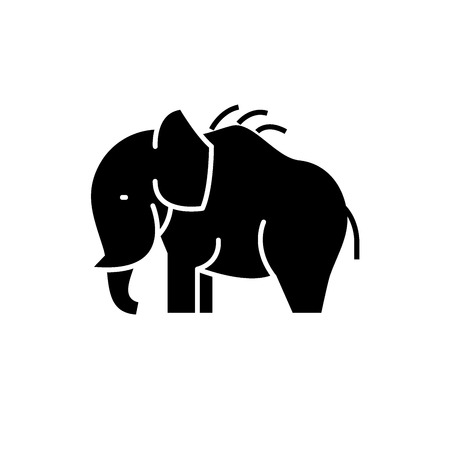 Mammoth black icon, concept vector sign on isolated background. Mammoth illustration, symbol