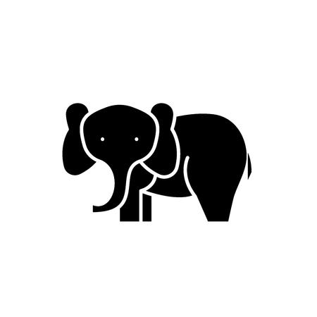 Elephant black icon, concept vector sign on isolated background. Elephant illustration, symbol