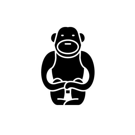 Gibbon black icon, concept vector sign on isolated background. Gibbon illustration, symbol