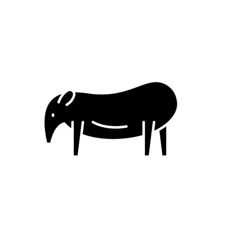 Tapir black icon, concept vector sign on isolated background. Tapir illustration, symbol