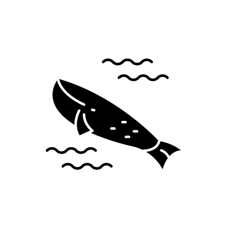 Whale in the ocean black icon, concept vector sign on isolated background. Whale in the ocean illustration, symbol