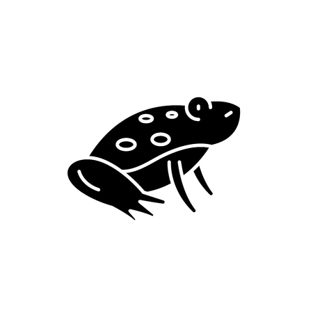 Cute frog black icon, concept vector sign on isolated background. Cute frog illustration, symbol