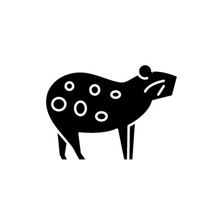 Icône noire de cochon d'Inde, signe de vecteur de concept sur fond isolé. Illustration de cochon d'Inde, symbole