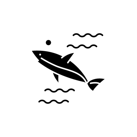 Shark black icon, concept vector sign on isolated background. Shark illustration, symbol
