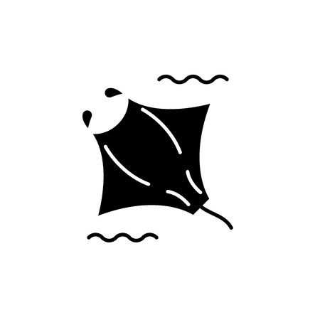 Manta black icon, concept vector sign on isolated background. Manta illustration, symbol