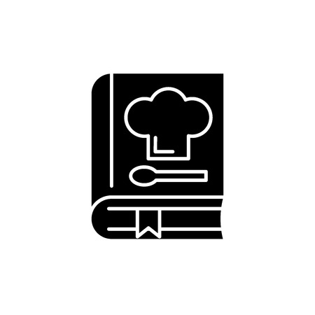 Book of recipes black icon, concept vector sign on isolated background. Book of recipes illustration, symbol Stockfoto - 127267146