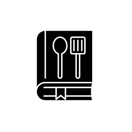 Cookbook black icon, concept vector sign on isolated background. Cookbook illustration, symbol