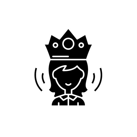 Reina icono negro, concepto de signo de vectores de fondo aislados. Ilustración de la reina, símbolo Ilustración de vector