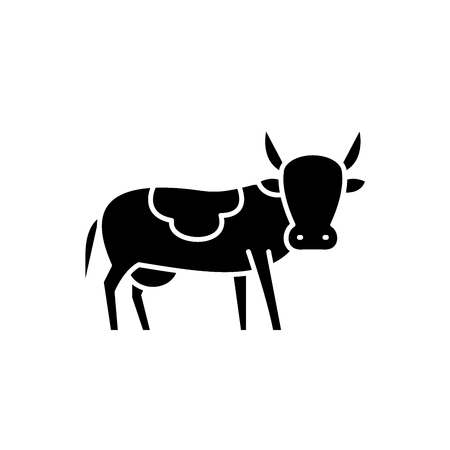 Bull black icon, concept vector sign on isolated background. Bull illustration, symbol