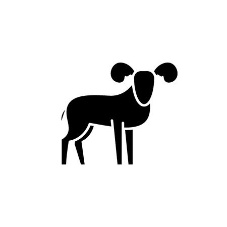 Capricorn black icon, concept vector sign on isolated background. Capricorn illustration, symbol