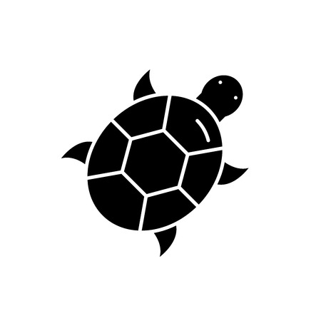 Tortuga icono negro, concepto de signo de vectores de fondo aislados. Ilustración de tortuga, símbolo Ilustración de vector