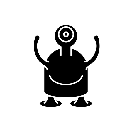 One-eyed monster black icon, concept vector sign on isolated background. One-eyed monster illustration, symbol