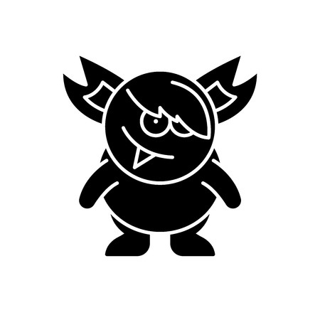 Monster black icon, concept vector sign on isolated background. Monster illustration, symbol