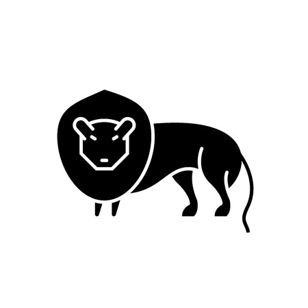 Lion black icon, concept vector sign on isolated background. Lion illustration, symbol Stock Illustratie