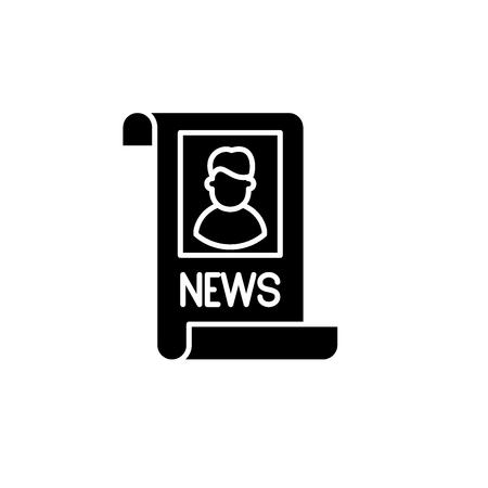 Latest news black icon, concept vector sign on isolated background. Latest news illustration, symbol Stock Illustratie