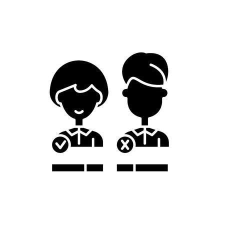 Customer status black icon, concept vector sign on isolated background. Customer status illustration, symbol