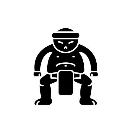 Sumo black icon, concept vector sign on isolated background. Sumo illustration, symbol Archivio Fotografico - 127267172