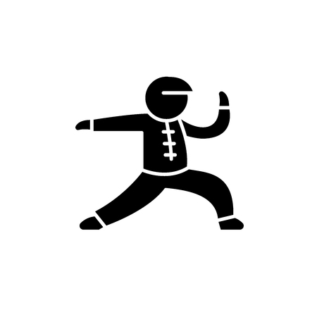 Wushu black icon, concept vector sign on isolated background. Wushu illustration, symbol  イラスト・ベクター素材