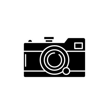 Camera black icon, concept vector sign on isolated background. Camera illustration, symbol