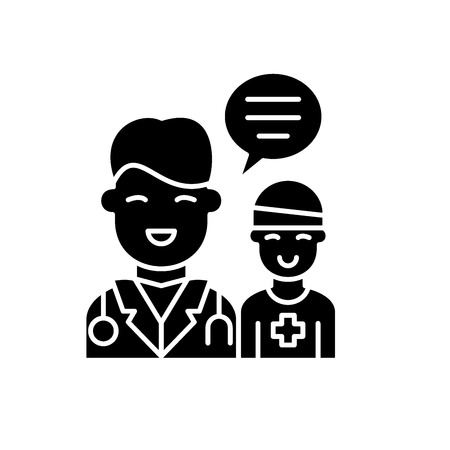 Doctors help to the patient black icon, concept vector sign on isolated background. Doctors help to the patient illustration, symbol Illustration