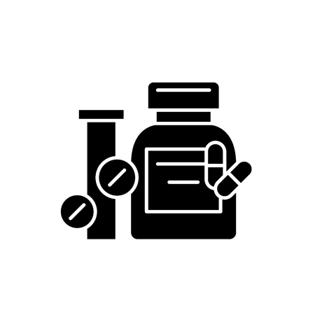 Biologically active additives black icon, concept vector sign on isolated background. Biologically active additives illustration, symbol Banco de Imagens - 113531449