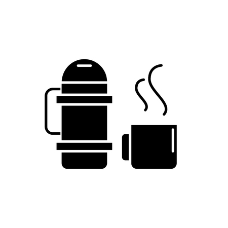 flask and mug black icon, concept vector sign on isolated background. flask and mug illustration, symbol Ilustrace