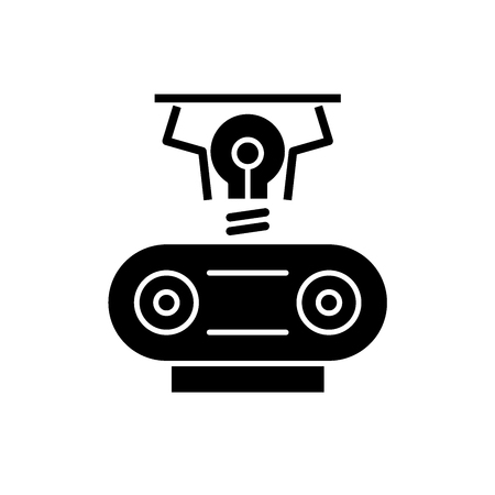 Electrogeneration black icon, concept vector sign on isolated background. Electrogeneration illustration, symbol Illustration
