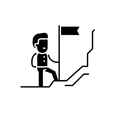 Discoverer black icon, concept vector sign on isolated background. Discoverer illustration, symbol Vector Illustration