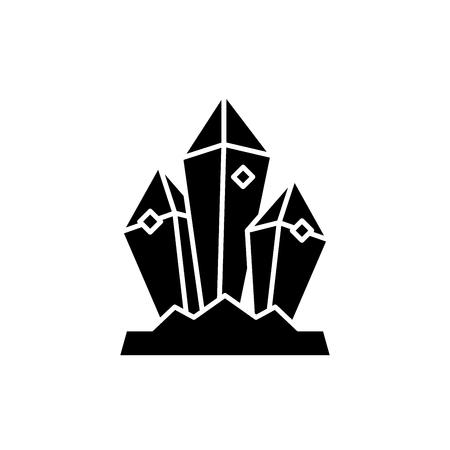 Icono negro del tesoro mineral, concepto de vector de señal sobre fondo aislado. Ilustración de tesoro mineral, símbolo