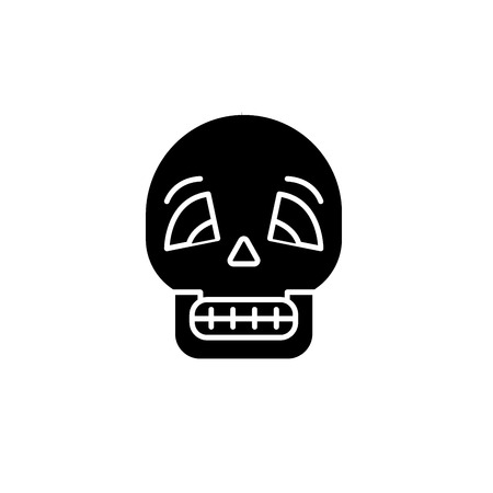Skull black icon, concept vector sign on isolated background. Skull illustration, symbol  イラスト・ベクター素材