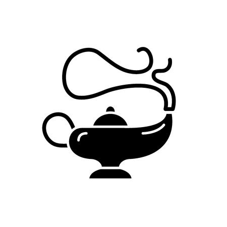 Magic lamp black icon, concept vector sign on isolated background. Magic lamp illustration, symbol