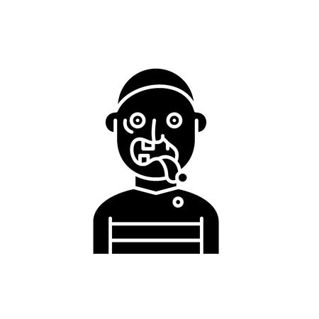 Zombie black icon, concept vector sign on isolated background. Zombie illustration, symbol Çizim