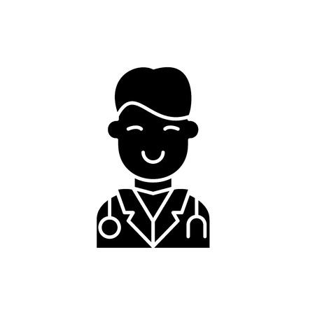 Surgeon black icon, concept vector sign on isolated background. Surgeon illustration, symbol Vectores