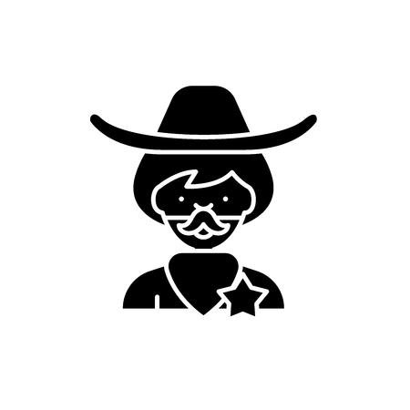 Cowboy black icon, concept vector sign on isolated background. Cowboy illustration, symbol Illustration