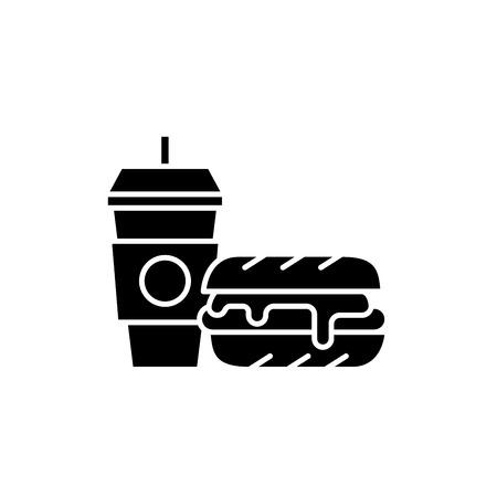 Hamburger breakfast black icon, concept vector sign on isolated background. Hamburger breakfast illustration, symbol