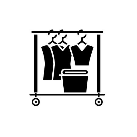 Dresser black icon, concept vector sign on isolated background. Dresser illustration, symbol Illustration