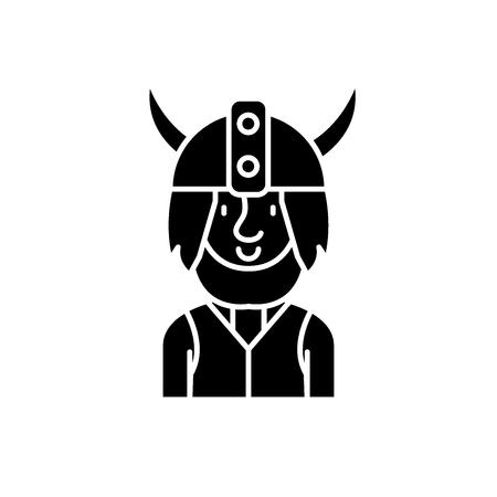 Viking black icon, concept vector sign on isolated background. Viking illustration, symbol