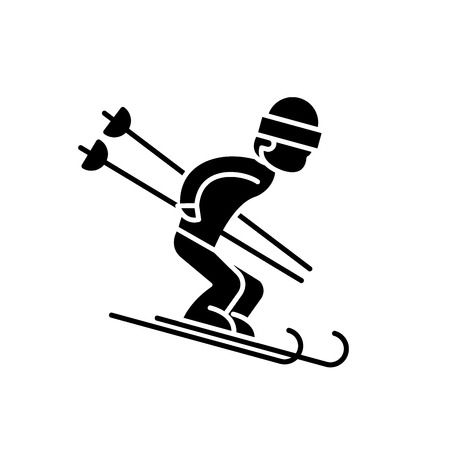 Snow skiing black icon, concept vector sign on isolated background. Snow skiing illustration, symbol Illustration