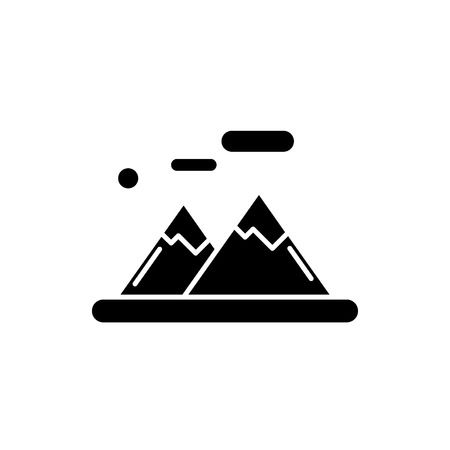The mountains black icon, concept vector sign on isolated background. The mountains illustration, symbol