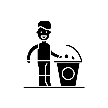 Separate trash black icon, concept vector sign on isolated background. Separate trash illustration, symbol