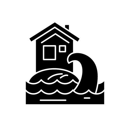 Tsunami black icon, concept vector sign on isolated background. Tsunami illustration, symbol