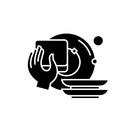 Lavar los platos icono negro, concepto de vector de señal sobre fondo aislado. Lavar los platos, ilustración, símbolo