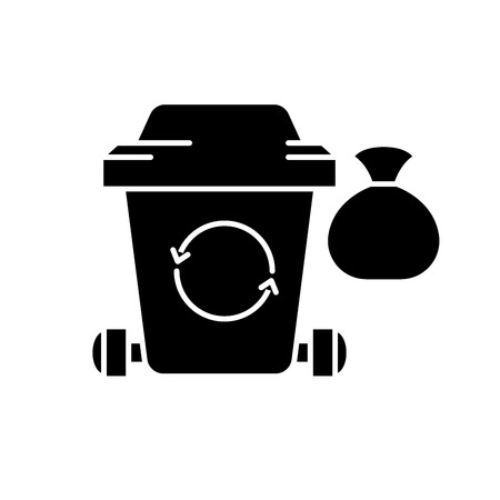 Garbage black icon, concept vector sign on isolated background. Garbage illustration, symbol