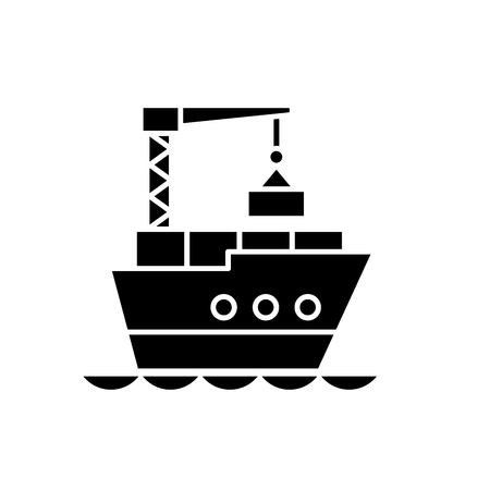 Maritime logistics black icon, concept vector sign on isolated background. Maritime logistics illustration, symbol