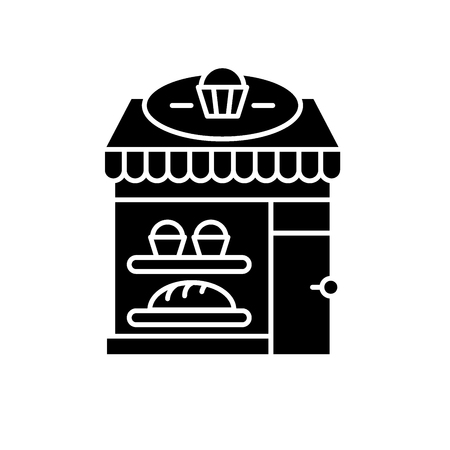 Bakery black icon, concept vector sign on isolated background. Bakery illustration, symbol