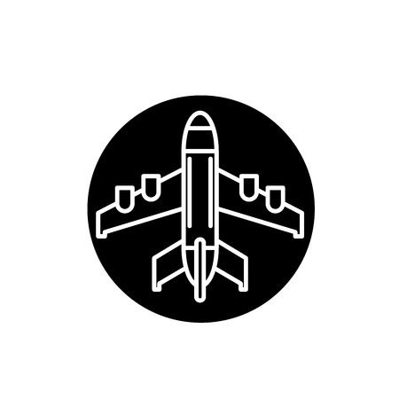 Plane landing black icon, concept vector sign on isolated background. Plane landing illustration, symbol